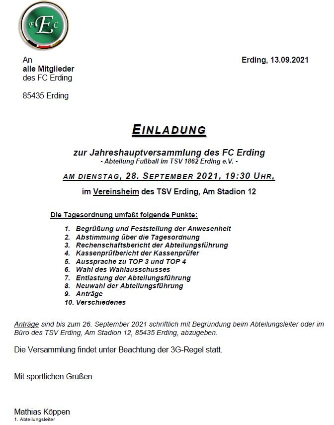 Einladung JHV 2021 FC Erding