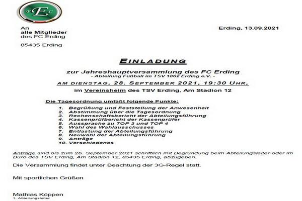 Einladung Jahreshauptversammlung 2021